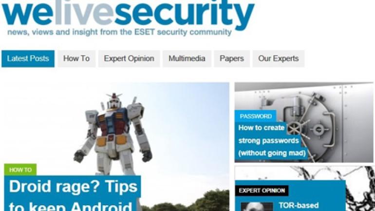 ESET'ten yeni güvenlik bilgilendirme platformu WeLiveSecurity.com